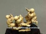 Mammoth Ivory Figurine Netsuke Four Kids