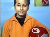 Tremendous Details Of Oil Portrait Painting Child Canvas Holding FootBall Wid Smile