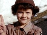 1960 CU Young Girl In Brownie Uniform Smiling At CAM + Making Girl Scout Hand