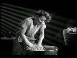 B W 1947 Bedraggled Housewife Doing Laundry In Washtub On Washboard Industrial