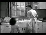B W 1952 REAR VIEW Housewife Doing Dishes Girl Comes Up + Gives