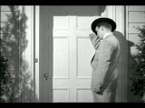 B W 1952? Rear View Of Man Meeting Couple At Door Of Home