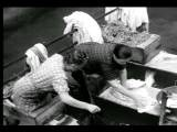 B W 1930s High Angle Two Women Scrubbing Clothes On Wooden Planks Over Water