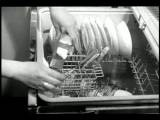 B W 1959 High Angle Close Up Hands Of Woman Putting Dishes + Soap