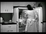 B W 1943 Housewife Opening Refrigerator Industrial