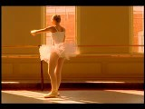 ORANGE Slow Motion Teen Ballerina Practicing + Stretching At Barre Window In B