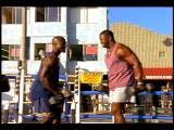 Slow Motion Two Black Men Doing Biceps Curls With Dumbbells Outdoors Muscle Be